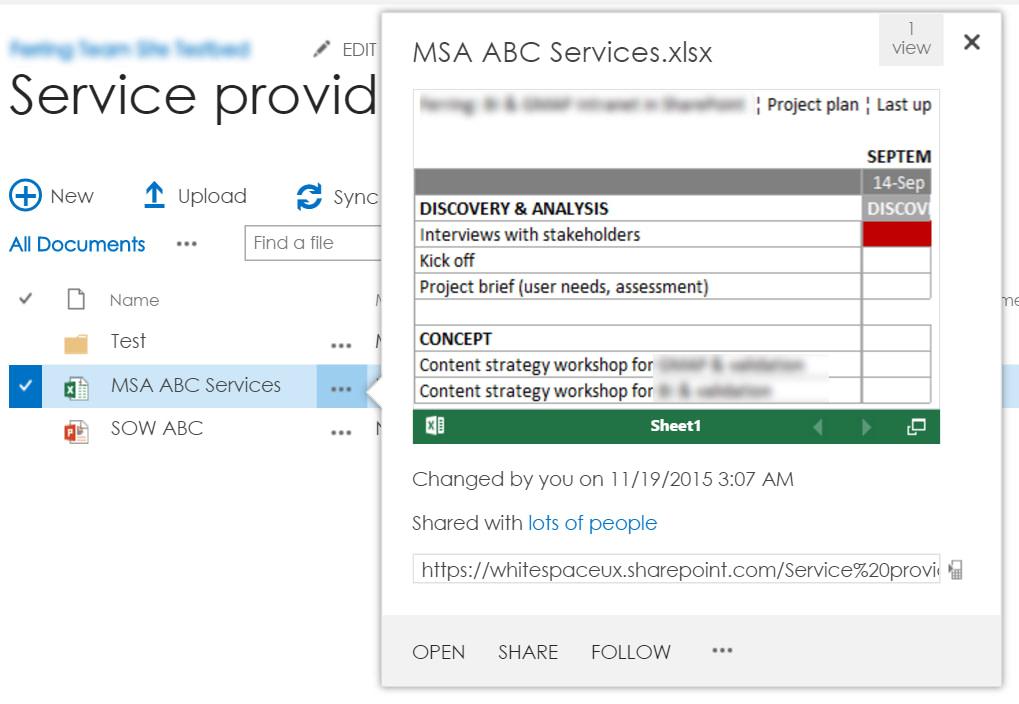 SharePoint document options